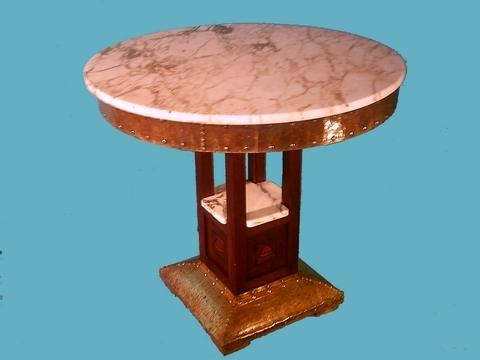 table ronde avec marbres feuilles de cuivre et marqueterie vendre aywaille annonces. Black Bedroom Furniture Sets. Home Design Ideas